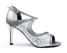 Portdance PD504 Tango - Silver Leather/Glitter