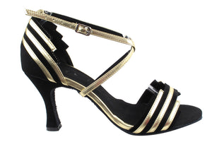 Very Fine SERA1700 Black Suede & Light Gold Trim