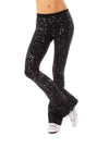 Hard Tail Forever - Contour Roll Down Boho Bell Bottom Flare Pant (W-598-sp2, Black w/Silver Spackle)