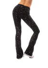 Hard Tail Forever - Contour Roll Down Boho Bell Bottom Flare Pant (W-598-sp2, Black w/Silver Spackle) alt view 2