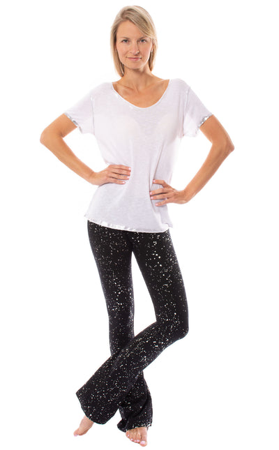 Hard Tail Forever - Contour Roll Down Boho Bell Bottom Flare Pant (W-598-sp2, Black w/Silver Spackle) alt view 6