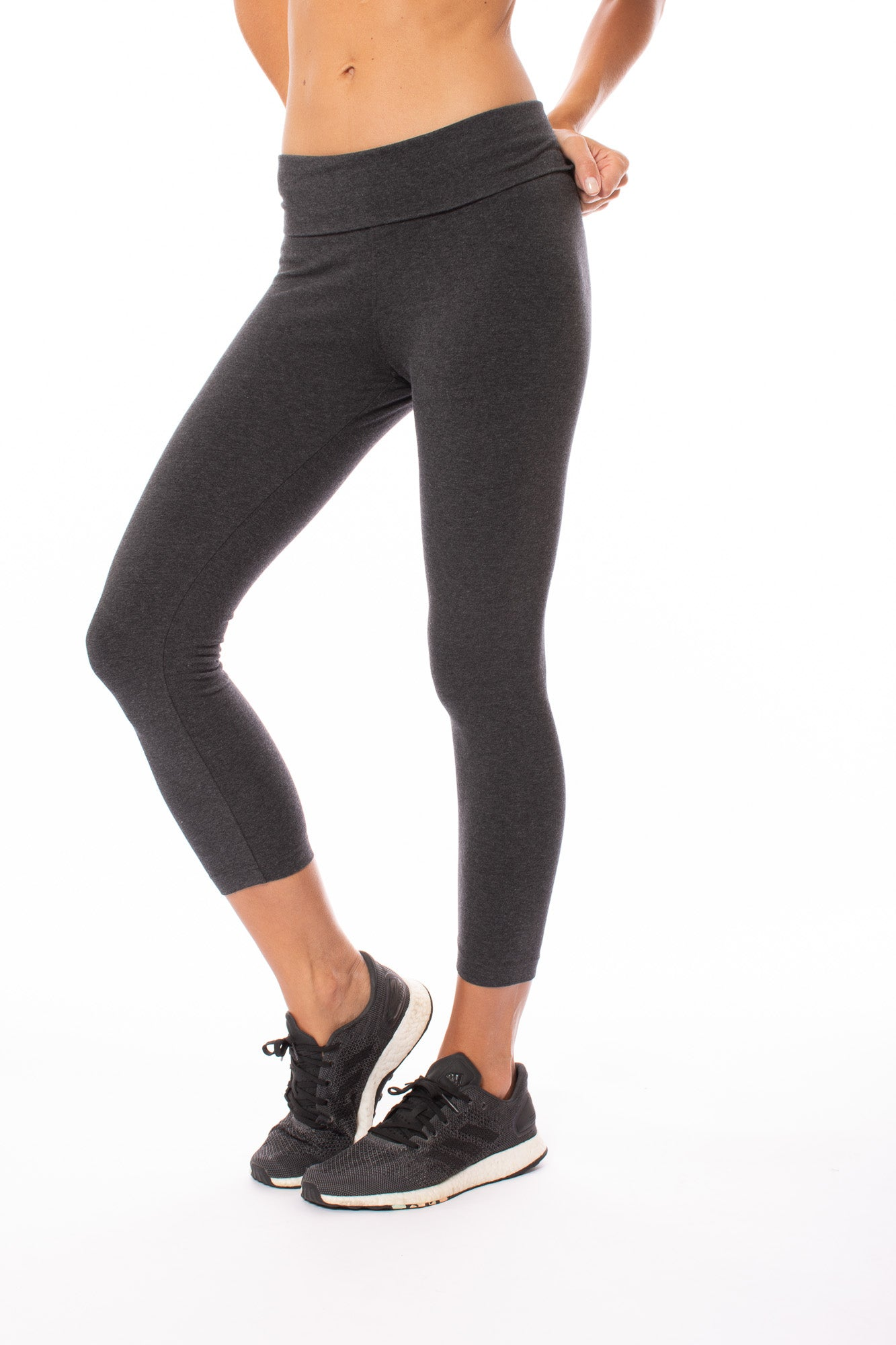 Roll Down Layered Legging (Style 588, Dark Charcoal) by Hard Tail Forever