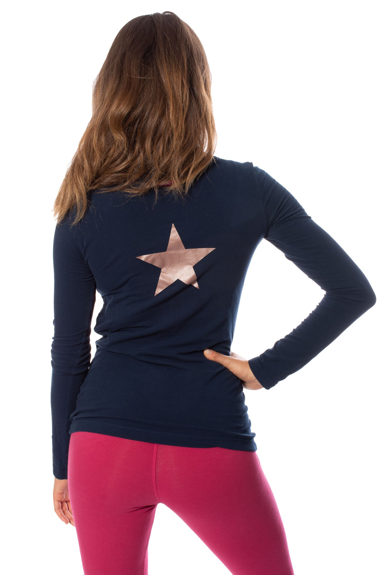 Hard Tail Forever - Supima/Lycra Long Sleeve Scoop Tee w/Star (SL-69-501B, Past Midnight / Rose Gold)