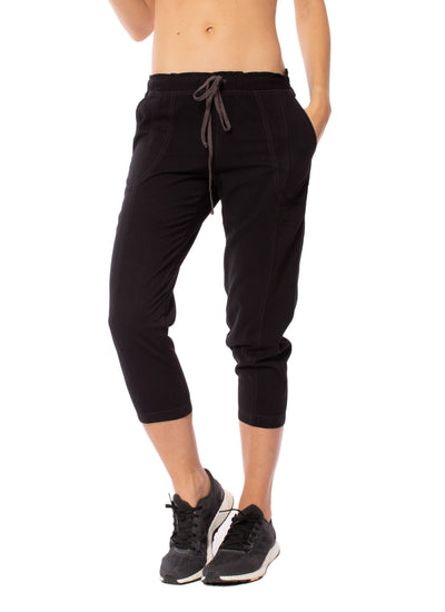 Hard Tail Forever - Rayon Twill Paper Bag Waist Capri (TWIL-01, Raven)