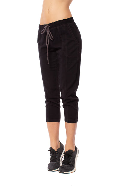 Hard Tail Forever - Rayon Twill Paper Bag Waist Capri (TWIL-01, Raven) alt view 7
