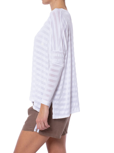 Hard Tail Forever - Stripe Jersey Slouchy T (HEN-02, White) alt view 1