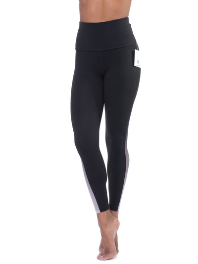 High Waist Mesh Insert Legging (Style SP3215, Black) by Beyond Yoga