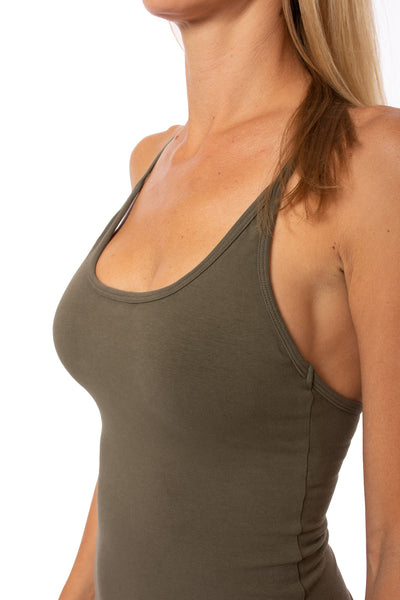 Hard Tail Forever - Freestyle Tank W/Bra (W-329, Olive) alt view 3