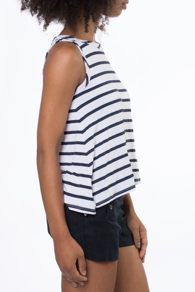A Line Tank (Style NAUT-01, White & Blue Stripes) by Hard Tail Forever alt view 1