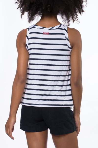 A Line Tank (Style NAUT-01, White & Blue Stripes) by Hard Tail Forever alt view 2