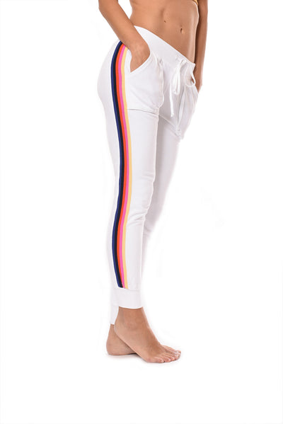 Sunset Stripe Jogger (Style CFT-09, White w/Stripes) by Hard Tail Forever