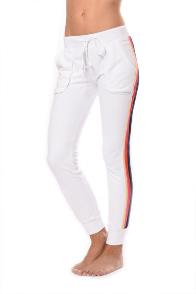Sunset Stripe Jogger (Style CFT-09, White w/Stripes) by Hard Tail Forever alt view 6