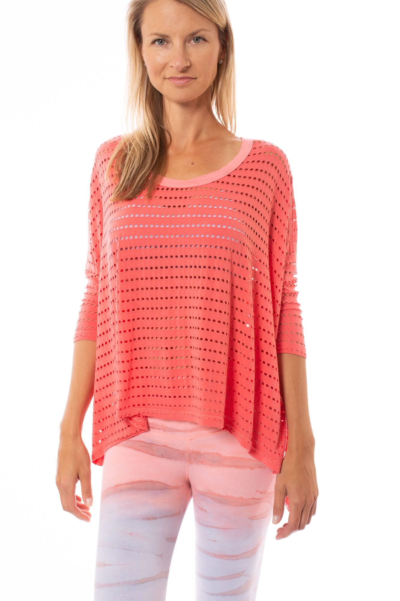 Hard Tail Forever - Holey Jersey Over Sized Raglan (HOL-04, Coral)