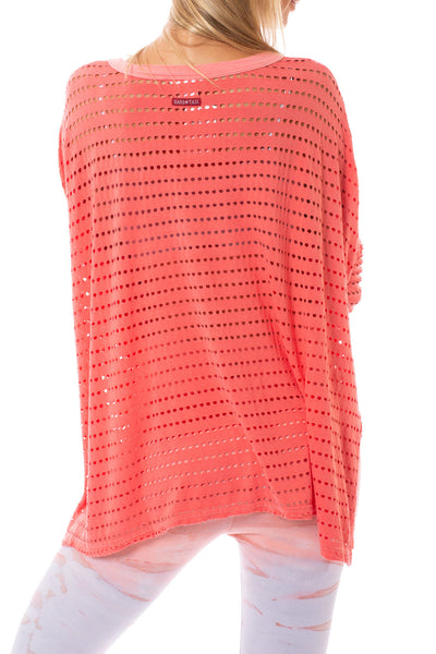 Hard Tail Forever - Holey Jersey Over Sized Raglan (HOL-04, Coral) alt view 2