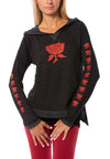 Terry Raglan w/Red Screen Print Rose (Style HEAT-03-808, Black w/Red Rose) by Hard Tail Forever