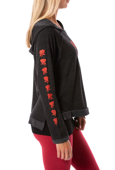 Terry Raglan w/Red Screen Print Rose (Style HEAT-03-808, Black w/Red Rose) by Hard Tail Forever alt view 1