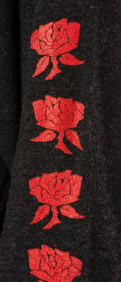Terry Raglan w/Red Screen Print Rose (Style HEAT-03-808, Black w/Red Rose) by Hard Tail Forever alt view 4