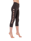 High Rise Capri Legging w/Star (Style W-614, Raven/Rose Gold) by Hard Tail Forever