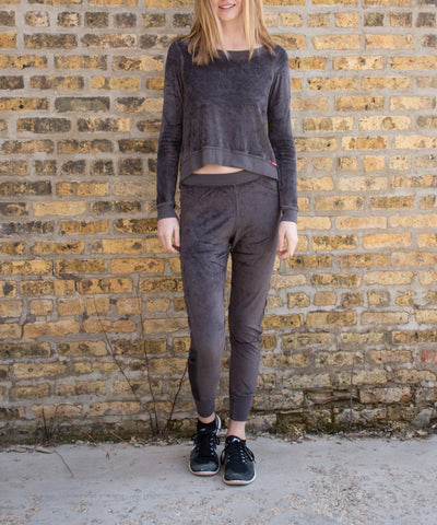Velour Skinny Jogger (Style PANE-16, Owl) by Hard Tail Forever alt view 3