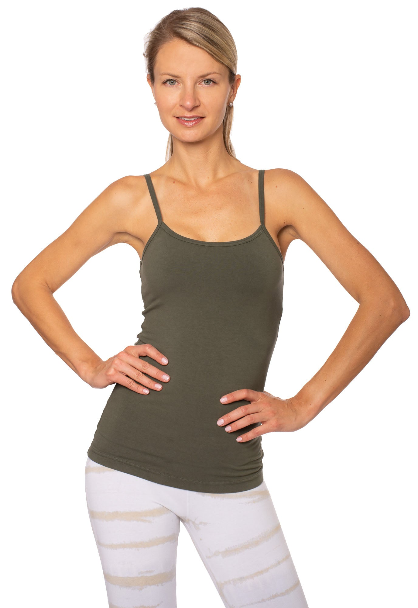 Long Spaghetti Tank w/Bra (Style 586, Olive) by Hard Tail Forever