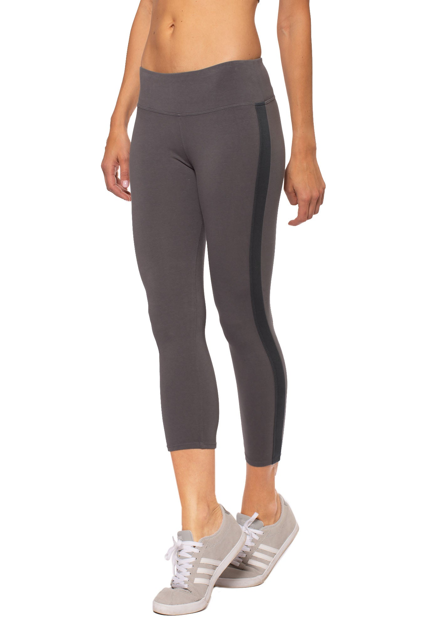 Hard Tail Forever - Cotton Lycra High Waist Racer Stripe Capri (W-938, Earl Grey)