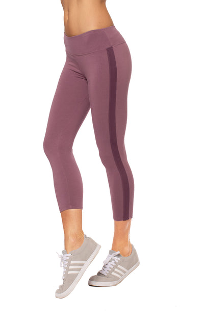 Hard Tail Forever - Cotton Lycra High Waist Racer Stripe Leggings (W-938, Crush Muted Purple)