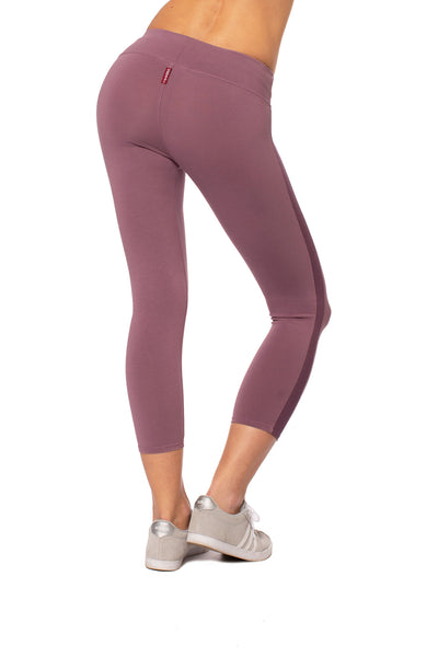 Hard Tail Forever - Cotton Lycra High Waist Racer Stripe Leggings (W-938, Crush Muted Purple) alt view 2