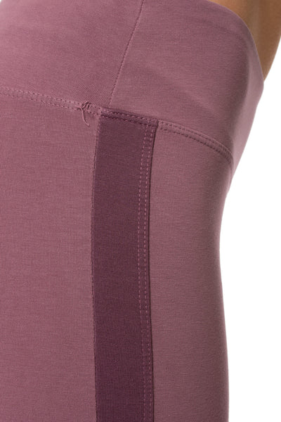 Hard Tail Forever - Cotton Lycra High Waist Racer Stripe Leggings (W-938, Crush Muted Purple) alt view 4