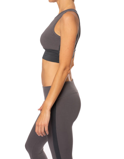 Hard Tail Forever - Wrap Back Crop Bra (W-936, Earl Gray) alt view 1