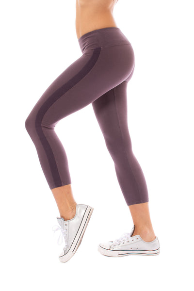 Hard Tail Forever - Cotton Lycra High Waist Racer Stripe Capri (W-938, Night)