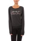 "House of Tens - Long Sleeve Cozy Sweatshirt With ""I'M On A Rose Cleanse"" (ROSE, Charcoal)"