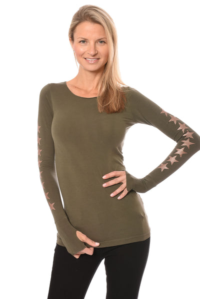 Hard Tail Forever - Long Sleeve Thumbhole W/Star On Back W/Rose Gold Star (SL-143-507, Olive w/Rose Gold Stars)