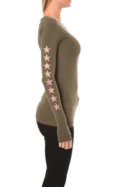 Hard Tail Forever - Long Sleeve Thumbhole W/Star On Back W/Rose Gold Star (SL-143-507, Olive w/Rose Gold Stars) alt view 1