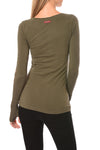 Hard Tail Forever - Long Sleeve Thumbhole W/Star On Back W/Rose Gold Star (SL-143-507, Olive w/Rose Gold Stars) alt view 2