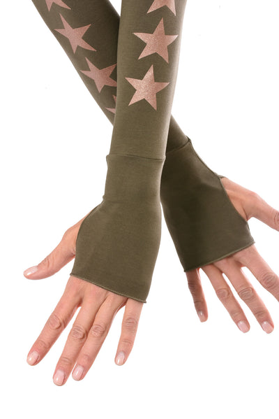 Hard Tail Forever - Long Sleeve Thumbhole W/Star On Back W/Rose Gold Star (SL-143-507, Olive w/Rose Gold Stars) alt view 3