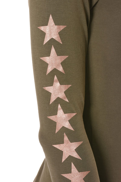 Hard Tail Forever - Long Sleeve Thumbhole W/Star On Back W/Rose Gold Star (SL-143-507, Olive w/Rose Gold Stars) alt view 4