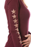Hard Tail Forever - Long Sleeve Thumbhole w/Rose Gold Sleeve Stars (SL-143-507, Fig w/Rose Gold Stars) alt view 4