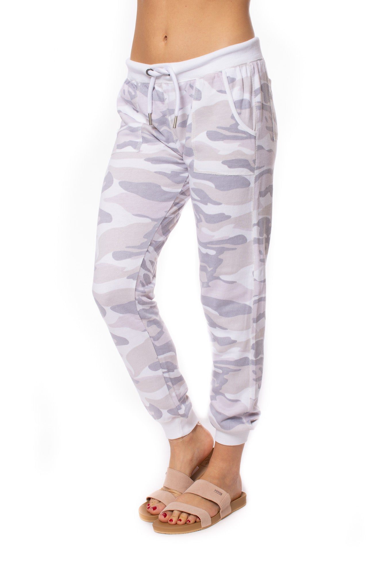 Vintage Havana - French Terry Camo Two Pocket Drawstring Jogger (VH9490, Concrete Lavender Camo)