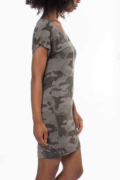 Siro Jersey T Dress (Style SIR-29, Camo Gravel) by Hard Tail Forever alt view 1