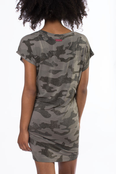 Siro Jersey T Dress (Style SIR-29, Camo Gravel) by Hard Tail Forever alt view 2