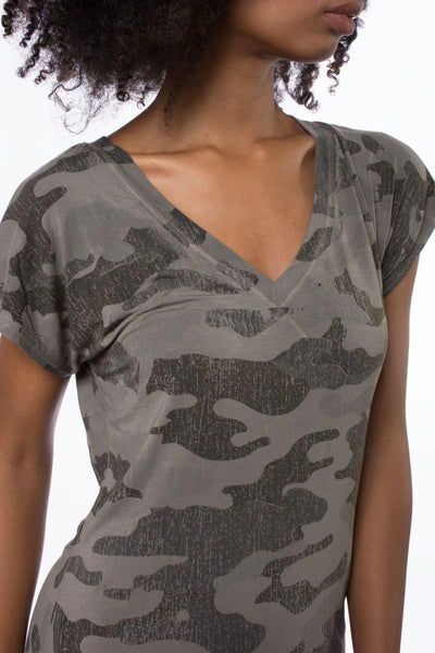 Siro Jersey T Dress (Style SIR-29, Camo Gravel) by Hard Tail Forever alt view 3