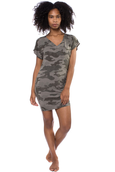 Siro Jersey T Dress (Style SIR-29, Camo Gravel) by Hard Tail Forever