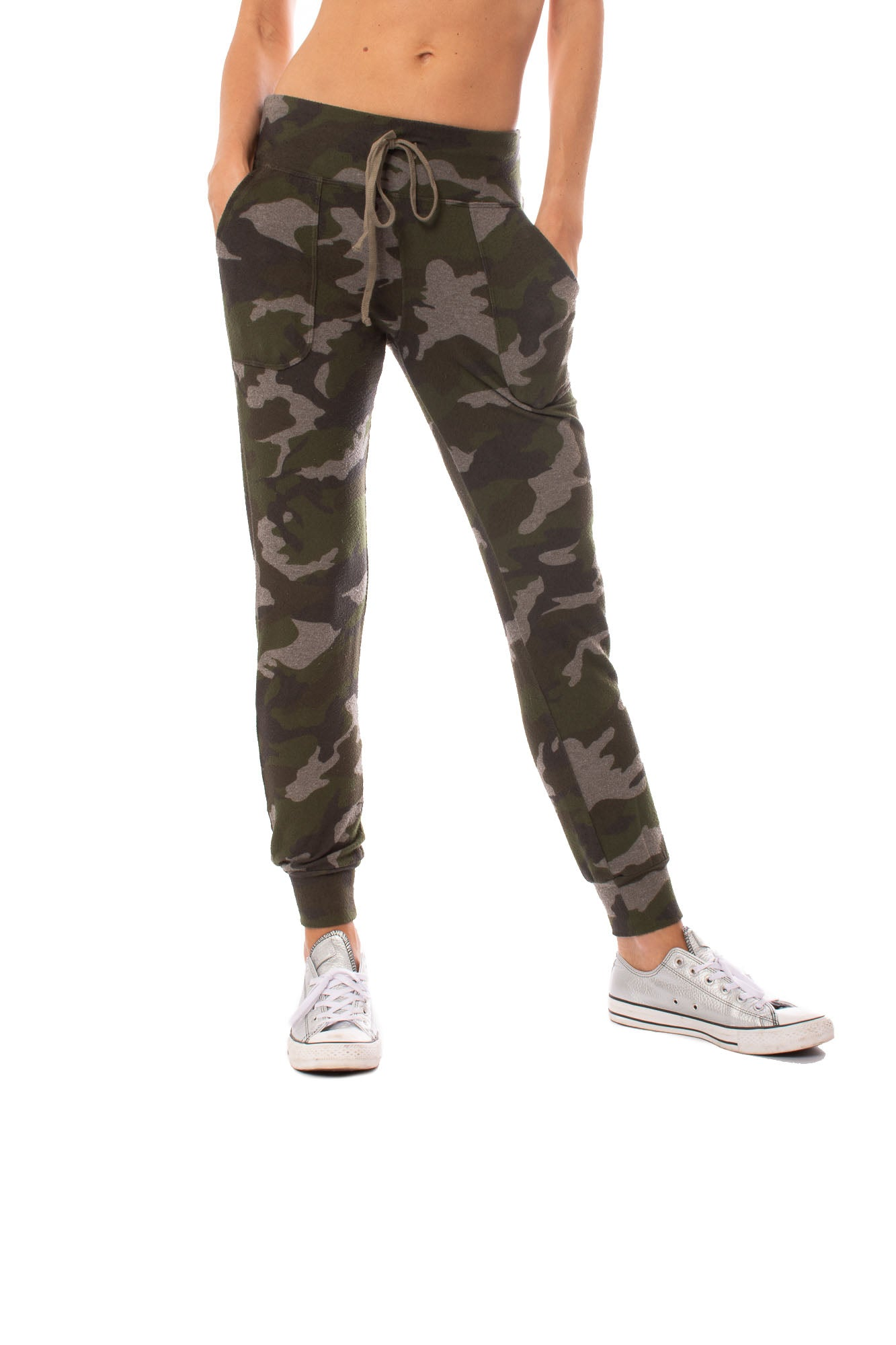 Hard Tail Forever - Double Pocket Drawstring Camo Jogger (HACH-05C, Thyme)