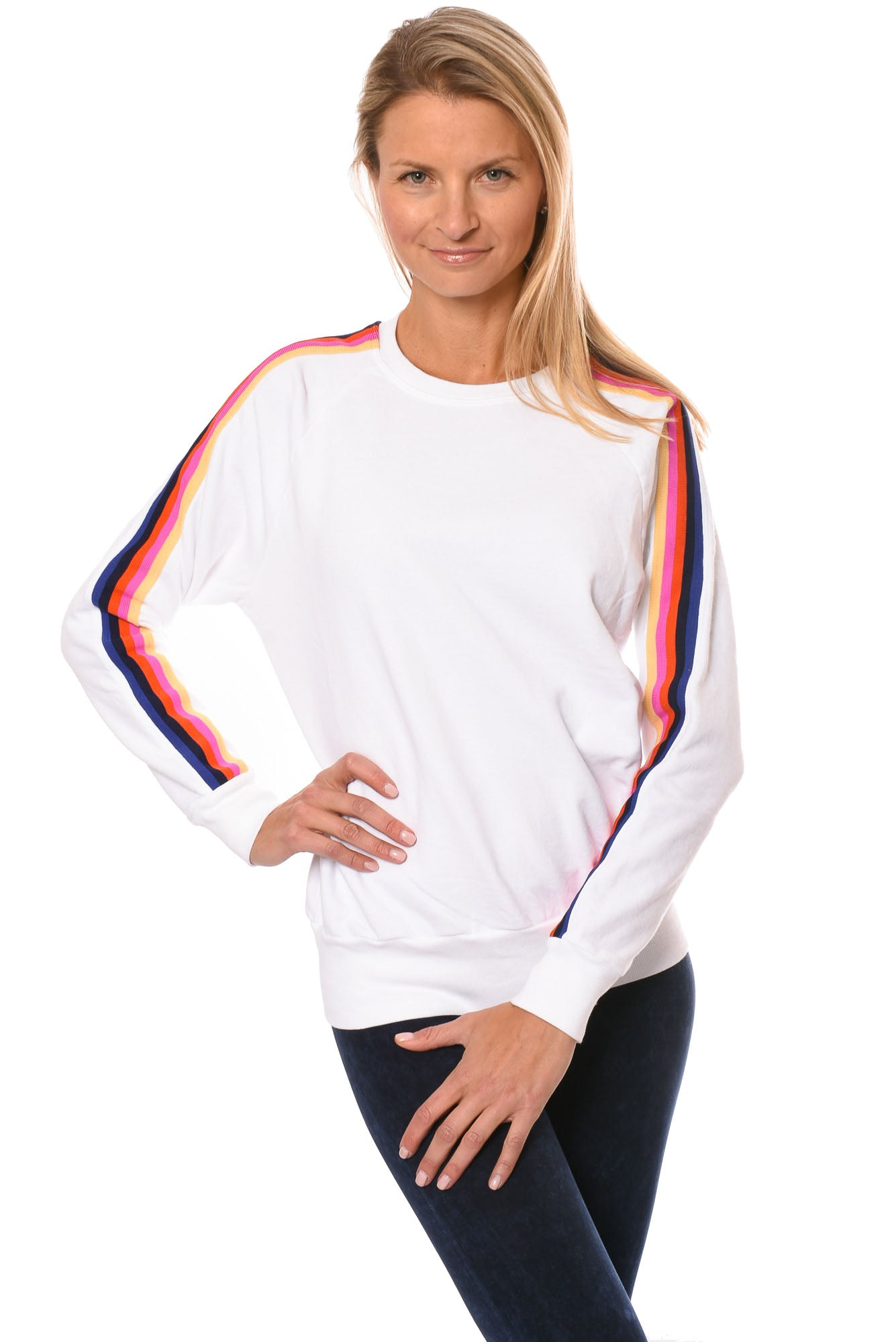 Hard Tail Forever - Sunset Stripe Bended Pullover (CFT-01, White)