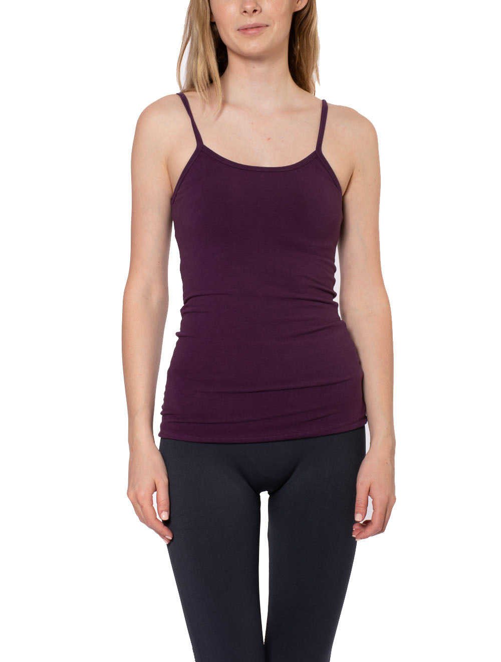 Long Spaghetti Tank with Bra (Style 586, Concord Grape) by Hard Tail Forever