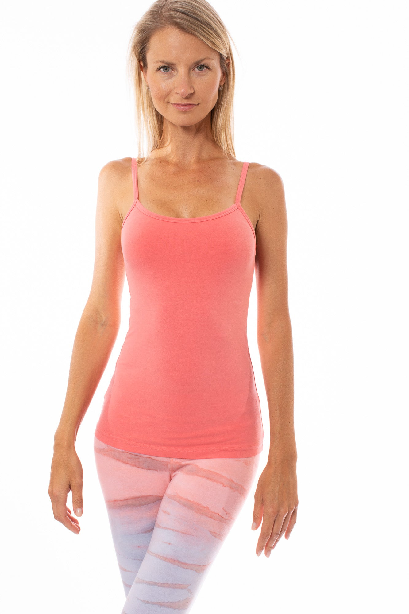 Hard Tail Forever - Long Spaghetti Tank W/Bra (586, Coral)