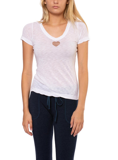 Sexy V Neck T W/Small Heart (Style SLUB-11-711, White w/Rose Gold) by Hard Tail Forever
