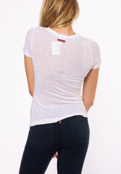 Sexy V Neck T W/Small Heart (Style SLUB-11-711, White w/Rose Gold) by Hard Tail Forever alt view 2
