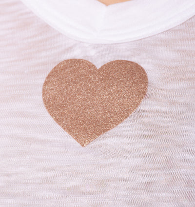 Sexy V Neck T W/Small Heart (Style SLUB-11-711, White w/Rose Gold) by Hard Tail Forever alt view 3