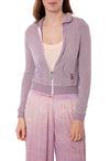 Zip Front Crop Hoodie (Style BIRD-27, Lavender) by Hard Tail Forever
